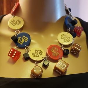 Vintage bakelite chips and dices necklace